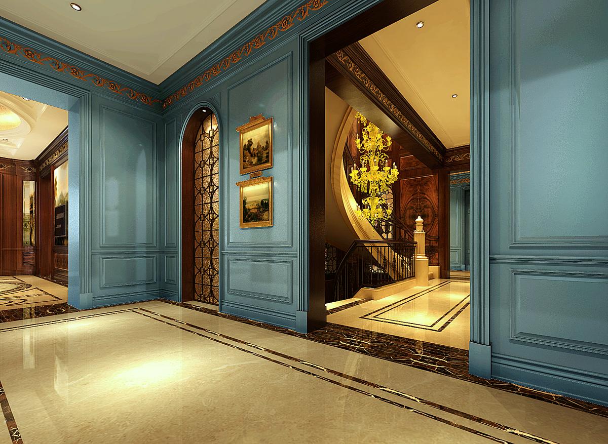 大豪山林 别墅装修 美式古典 腾龙设计 楼梯图片来自腾龙设计在大豪山林760平别墅美式古典风格的分享