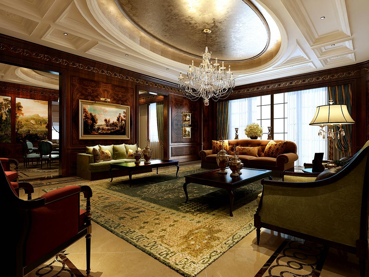 客厅图片来自腾龙设计在大豪山林760平别墅美式古典风格的分享