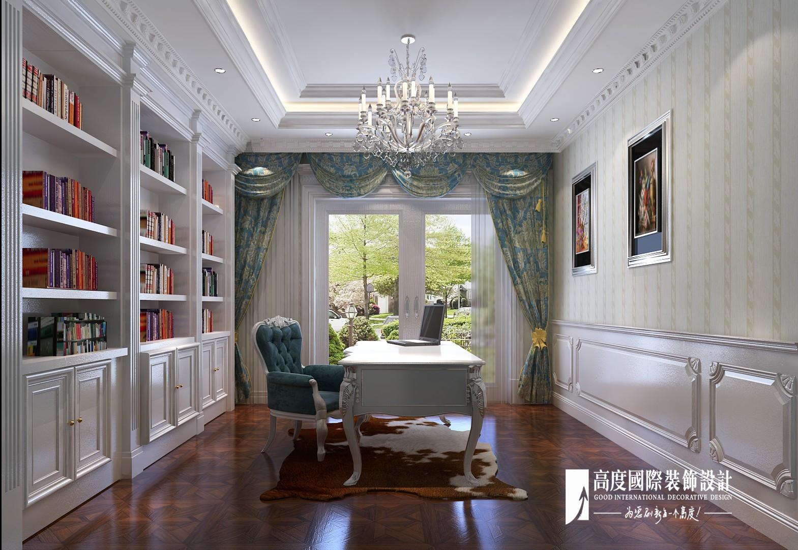 欧式 新古典 别墅 跃层 复式 大户型 80后 石上清泉 书房图片来自高度国际姚吉智在石上清泉500平米欧式新古典时尚的分享