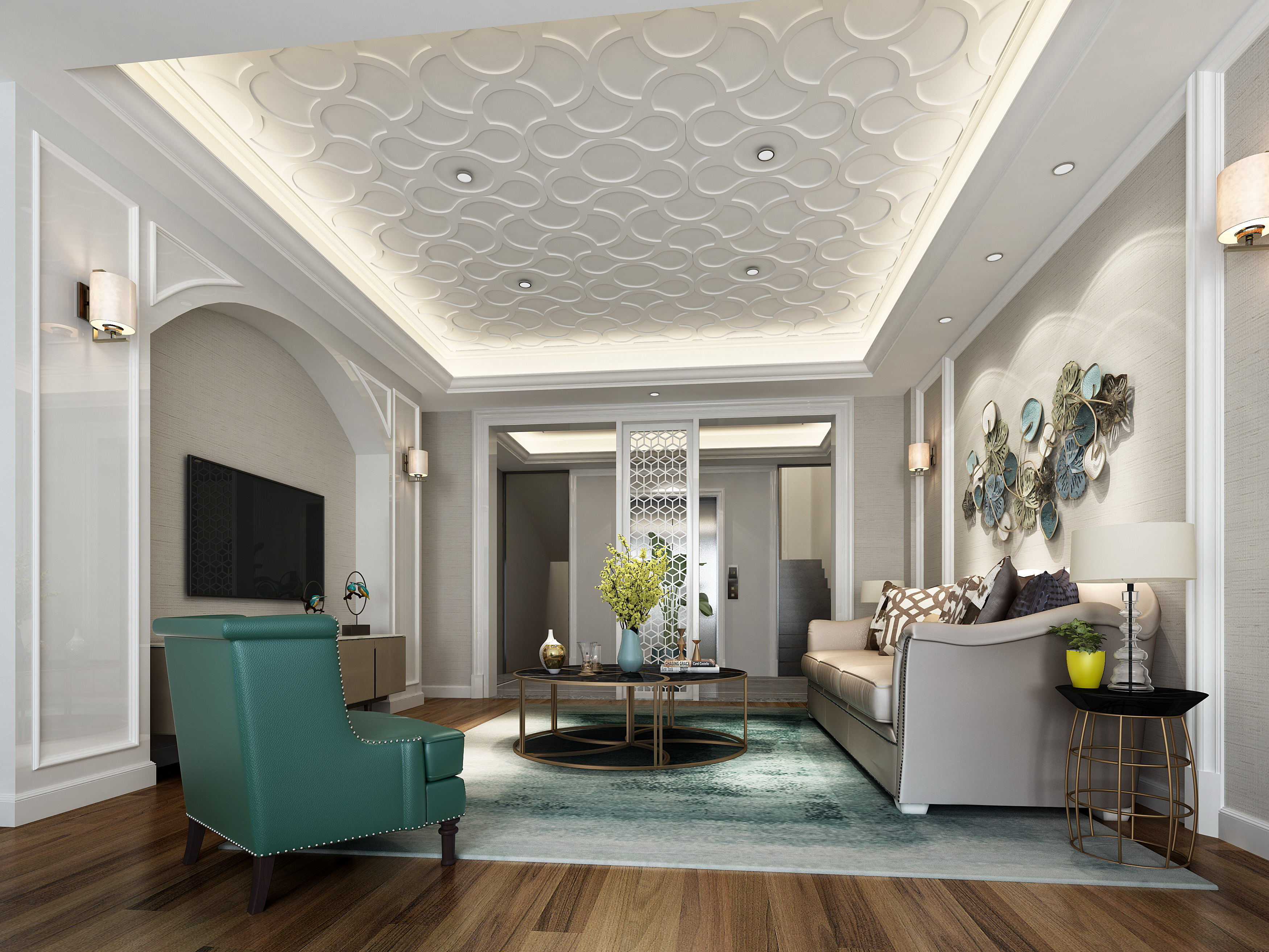 客厅图片来自敏空间在浦东新区私人别墅二的分享