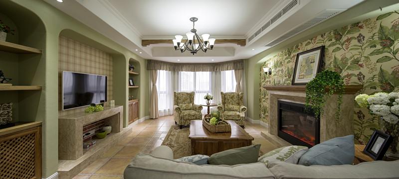 美式 田园 三居 大户型 跃层 复式 80后 小资 客厅图片来自高度国际姚吉智在156平米美式田园回味最初的美好的分享