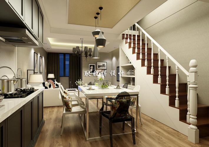 楼梯图片来自百家装饰LL在佳兆业中心 79平现代阁楼的分享