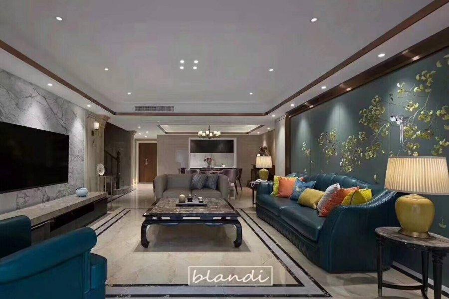 四海逸家 美式装修 龙发装饰 客厅图片来自成都装修找龙发在复古蓝灰色大气美式装修的分享