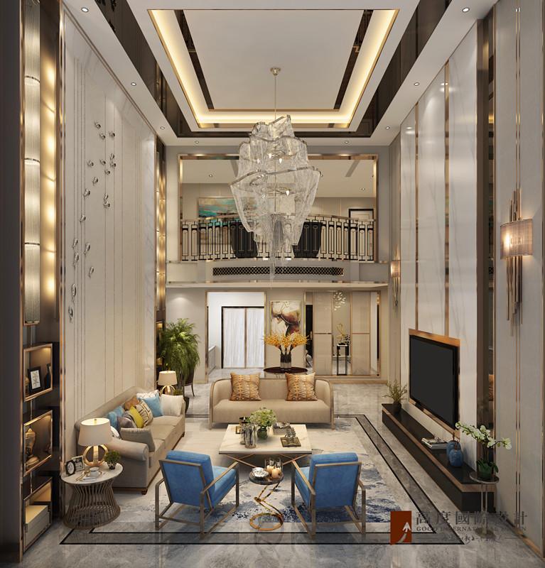 现代 别墅 大户型 跃层 复式 80后 小资 客厅图片来自高度国际姚吉智在金科天玺650平米现代轻奢别墅的分享