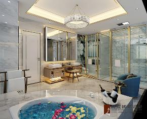 现代 别墅 大户型 跃层 复式 80后 小资 卫生间图片来自高度国际姚吉智在金科天玺650平米现代轻奢别墅的分享