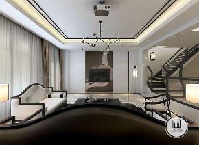 中式 新中式 别墅 设计 效果图 客厅 楼梯 沙发 背景墙 客厅图片来自大业美家 家居装饰在推荐:新中式的精髓黑白灰水墨的分享