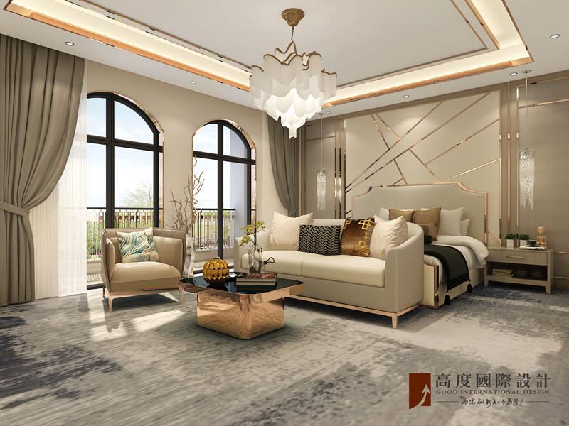 现代 别墅 大户型 跃层 复式 80后 小资 卧室图片来自高度国际姚吉智在金科天玺650平米现代轻奢别墅的分享