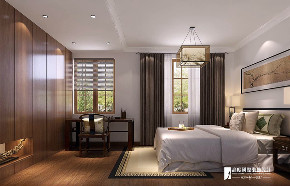 中式 四居 大户型 复式 跃层 别墅 80后 小资 卧室图片来自高度国际姚吉智在龙脉温泉花园180㎡新中式质朴的分享