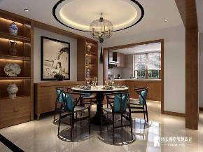 中式 四居 大户型 复式 跃层 别墅 80后 小资 餐厅图片来自高度国际姚吉智在龙脉温泉花园180㎡新中式质朴的分享