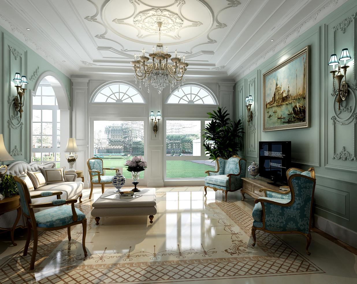 东郊罗兰 别墅装修 欧式风格 腾龙设计 刁振英作品 客厅图片来自孔继民在东郊罗兰别墅装修法式风格设计的分享