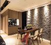 餐厨区 缩退书房的墙面设置餐具柜,镶嵌黑色烤漆玻璃,搭配厨房黑玻拉门,让餐厅拥有延伸感。