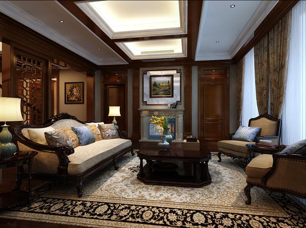 大华西郊 别墅装修 新中式风格 腾龙设计 客厅图片来自腾龙设计在大华西郊别墅项目装修新中式的分享