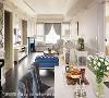 公共空间配色概念 宝蓝色壁炉是室内跳色的起始语汇,全案纯净优雅的基底,各处宛若不经意地点缀或深或浅的蓝调元素,带出了独特轻奢的气质。