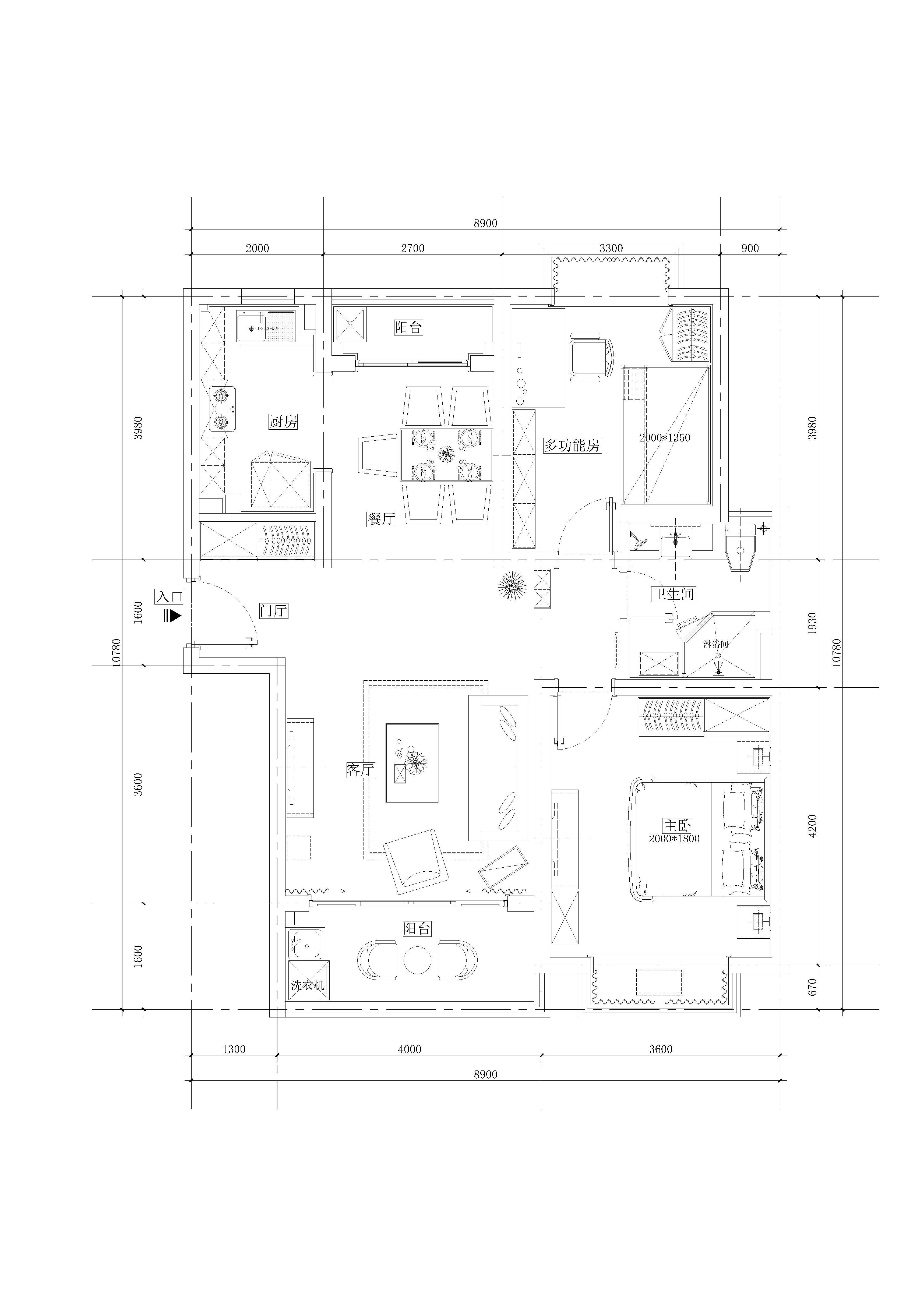 简约 小资 旧房改造 户型图图片来自敏空间在杨浦新凤城公寓的分享