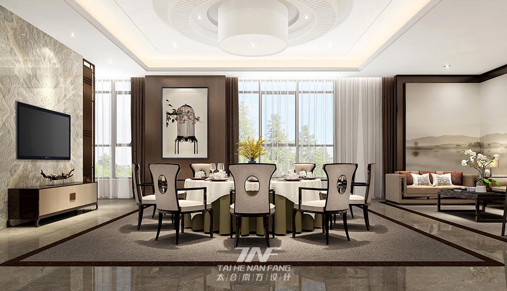 王五平设计 会所设计 现代中式 餐厅图片来自王五平设计在河北沙河私人会所-中式雅奢的分享