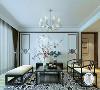 新中式创新客厅效果,无电视背景墙,大幅白描绘画作品,使整个空间显得更加净雅,再加上一点彩色干花的点缀
