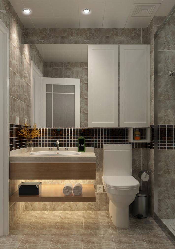 简约 三居 现代 卫生间图片来自言白设计在清雅逸景的分享