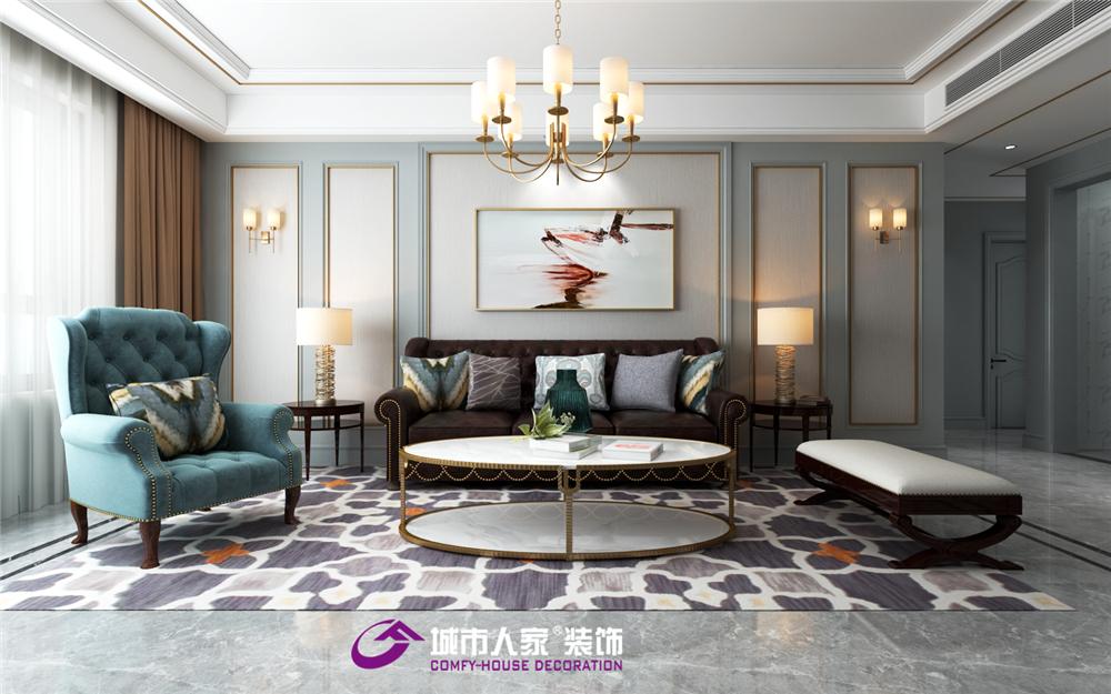 现代美式 客厅图片来自济南城市人家装修公司-在海尔绿城麗园装修现代美式的分享