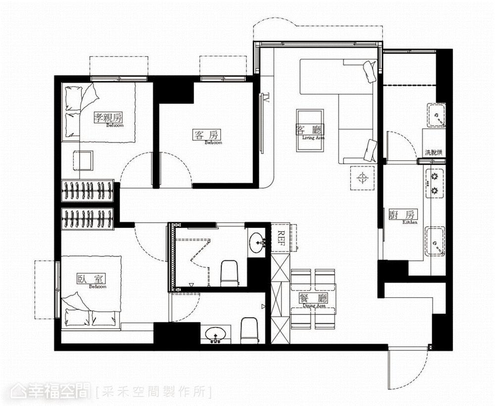 裝修风格 北欧风格 收纳 白领 80后 小资 户型图图片来自幸福空间在76平,小夫妻的甜蜜爱情小屋的分享