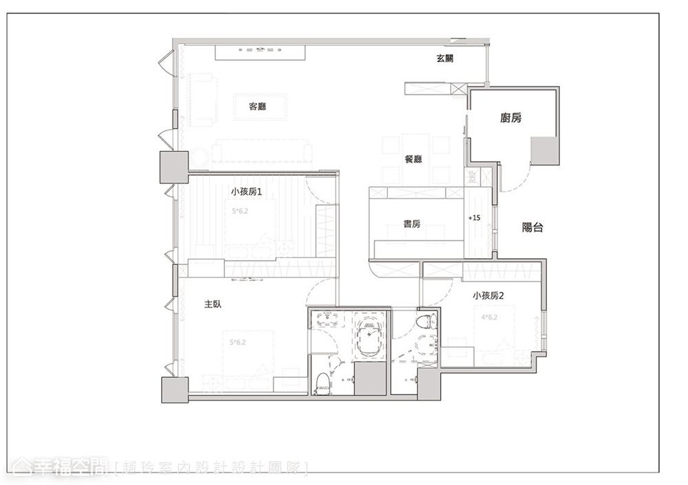 装修设计 三居 白领 旧房改造 收纳 80后 小资 户型图图片来自幸福空间在132平旧藏换新装邂逅现代新古典的分享