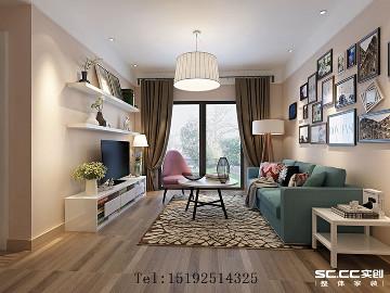 保利中央公园95平二居室简约装修