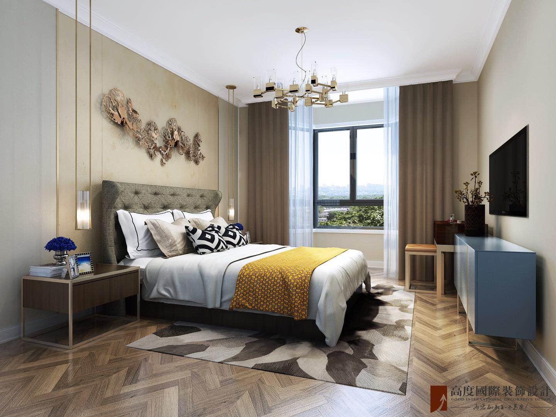 轻奢 现代 三居 大户型 复式 跃层 白领 80后 小资 卧室图片来自高度国际姚吉智在远洋万和风景130㎡轻奢精致生活的分享
