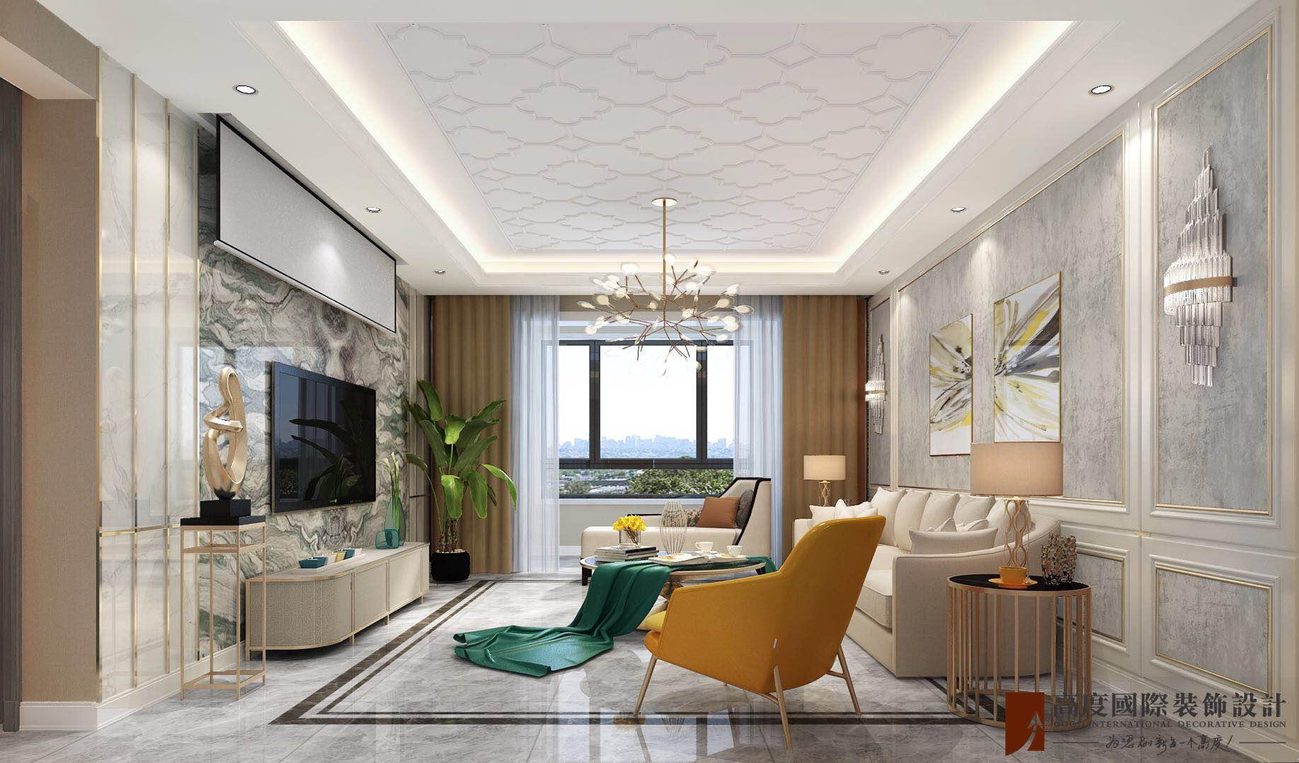 轻奢 现代 三居 大户型 复式 跃层 白领 80后 小资 客厅图片来自高度国际姚吉智在远洋万和风景130㎡轻奢精致生活的分享
