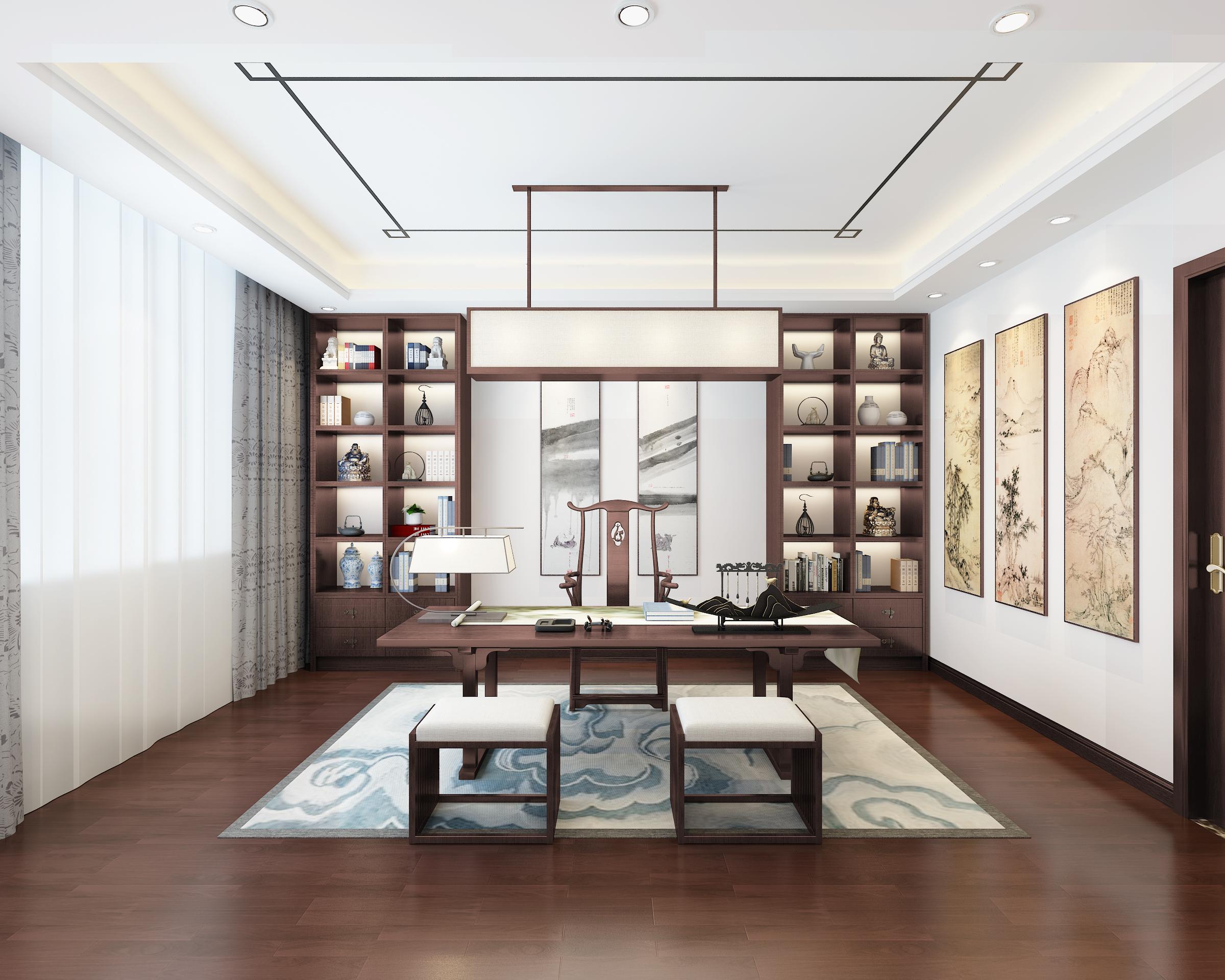 别墅 白领 收纳 80后 小资 中式 新中式 书房图片来自圣奇凯尚室内设计工作室在中式韵味私人会所的分享