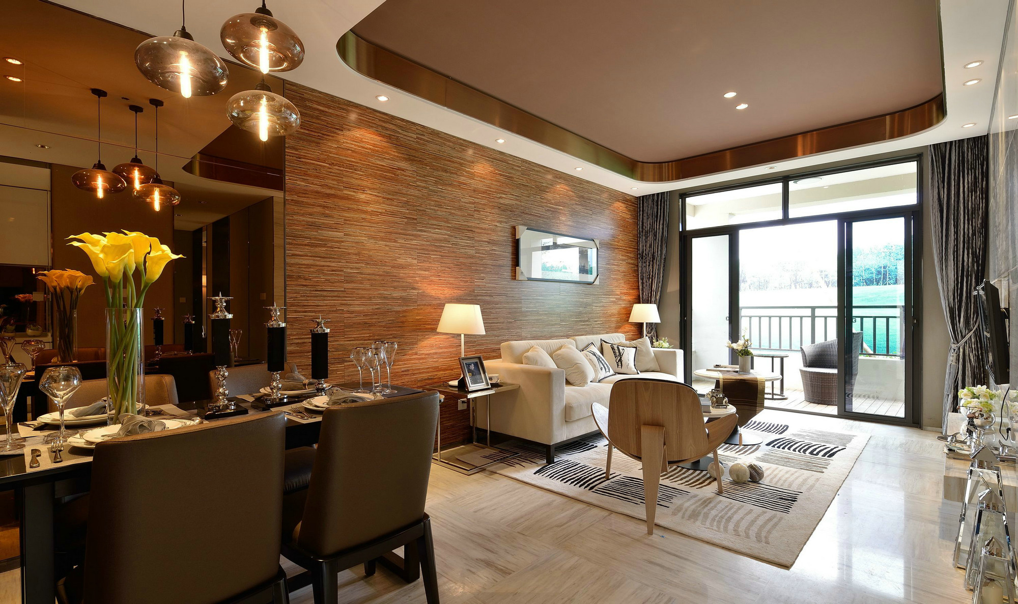 现代 后现代 三居 大户型 复式 跃层 白领 80后 小资 客厅图片来自高度国际姚吉智在153平米后现代风轻奢空间的分享