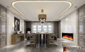 新古典 法式 别墅 跃层 复式 大户型 80后 小资 餐厅图片来自高度国际姚吉智在天恒半山世家684㎡法式经典的分享