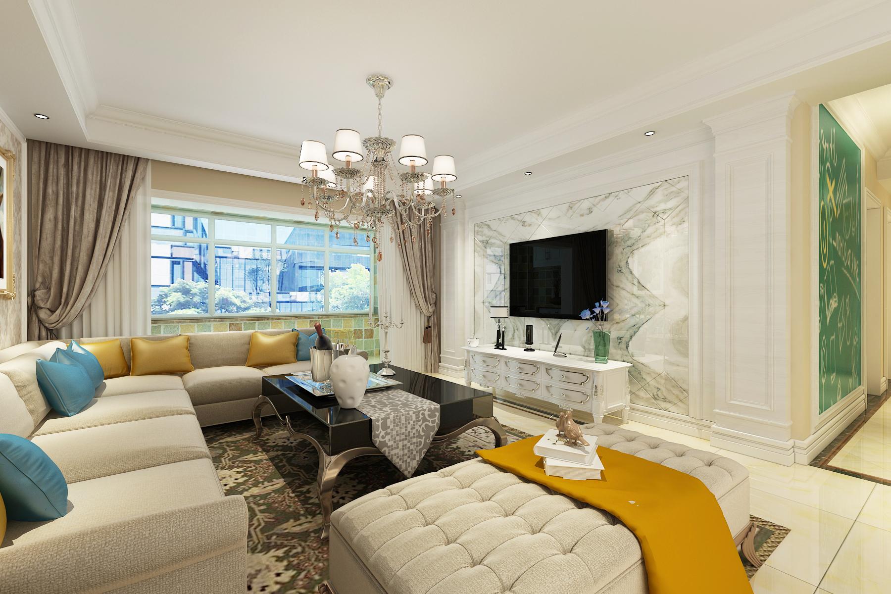 欧式 三居 白领 80后 小资 客厅图片来自装家美在当代MOMA沿湖城149平米简欧风的分享