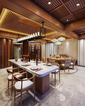 中式 别墅 跃层 复式 大户型 80后 小资 餐厅图片来自高度国际姚吉智在460平米新中式东方韵味轻奢范的分享