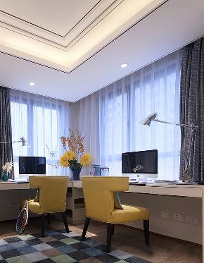 现代 美式 混搭 三居 大户型 复式 跃层 80后 小资 书房图片来自高度国际姚吉智在160平米现代美式混搭优雅情调的分享