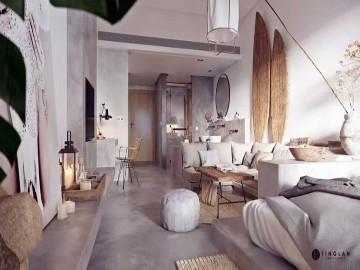 暖色系工业风单身小公寓