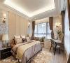 主卧房 以尊荣级规格打造奢华古典的卧眠空间,以皮革、特殊迷彩漆铺叙主墙层次,天花则透过活泼线条及灯光丰富视觉感受。