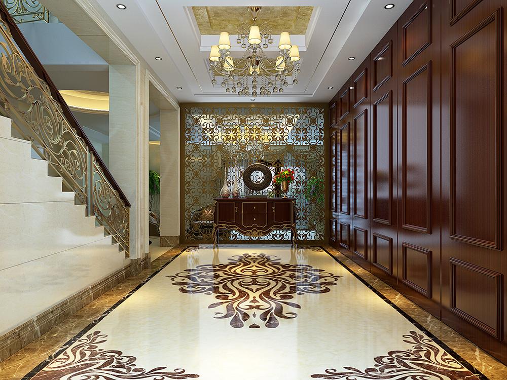 大华诺斐墅 别墅装修 欧美古典 腾龙设计 楼梯图片来自孔继民在大华诺斐墅 欧美古典风格设计的分享