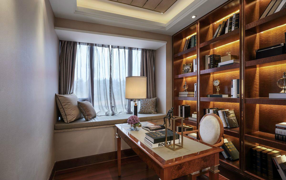 新古典 三居 四居 大户型 跃层 复式 80后 小资 书房图片来自高度国际姚吉智在172平米新古典主义优雅浪漫的分享