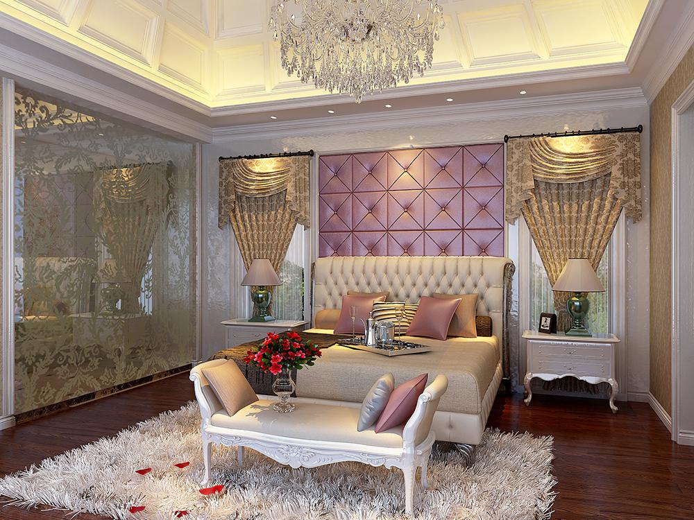 大华诺斐墅 别墅装修 欧美古典 腾龙设计 卧室图片来自孔继民在大华诺斐墅 欧美古典风格设计的分享