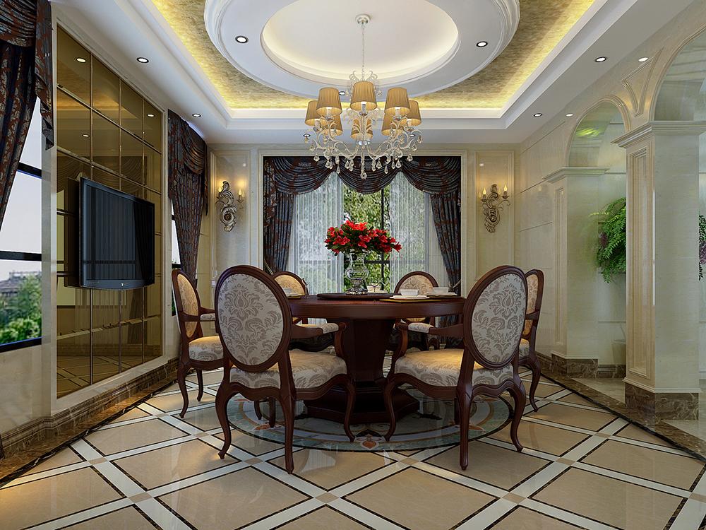 大华诺斐墅 别墅装修 欧美古典 腾龙设计 餐厅图片来自孔继民在大华诺斐墅 欧美古典风格设计的分享