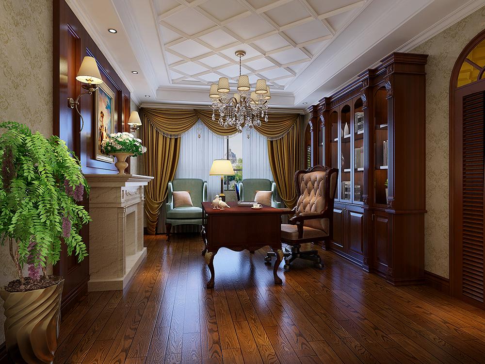 大华诺斐墅 别墅装修 欧美古典 腾龙设计 书房图片来自孔继民在大华诺斐墅 欧美古典风格设计的分享