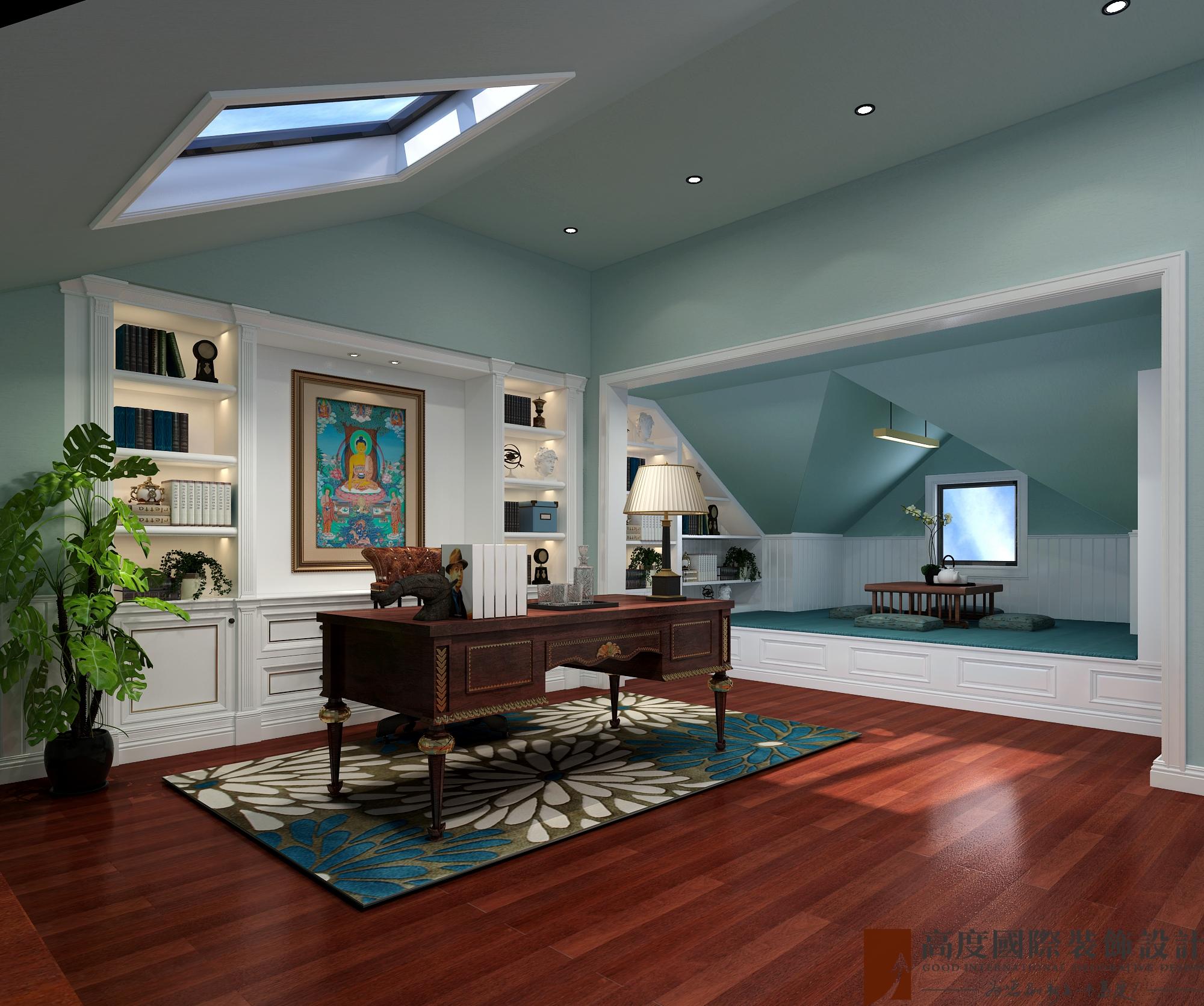 新古典 法式 别墅 跃层 复式 大户型 loft 80后 书房图片来自高度国际姚吉智在泷悦长安500平米简约法式精致的分享