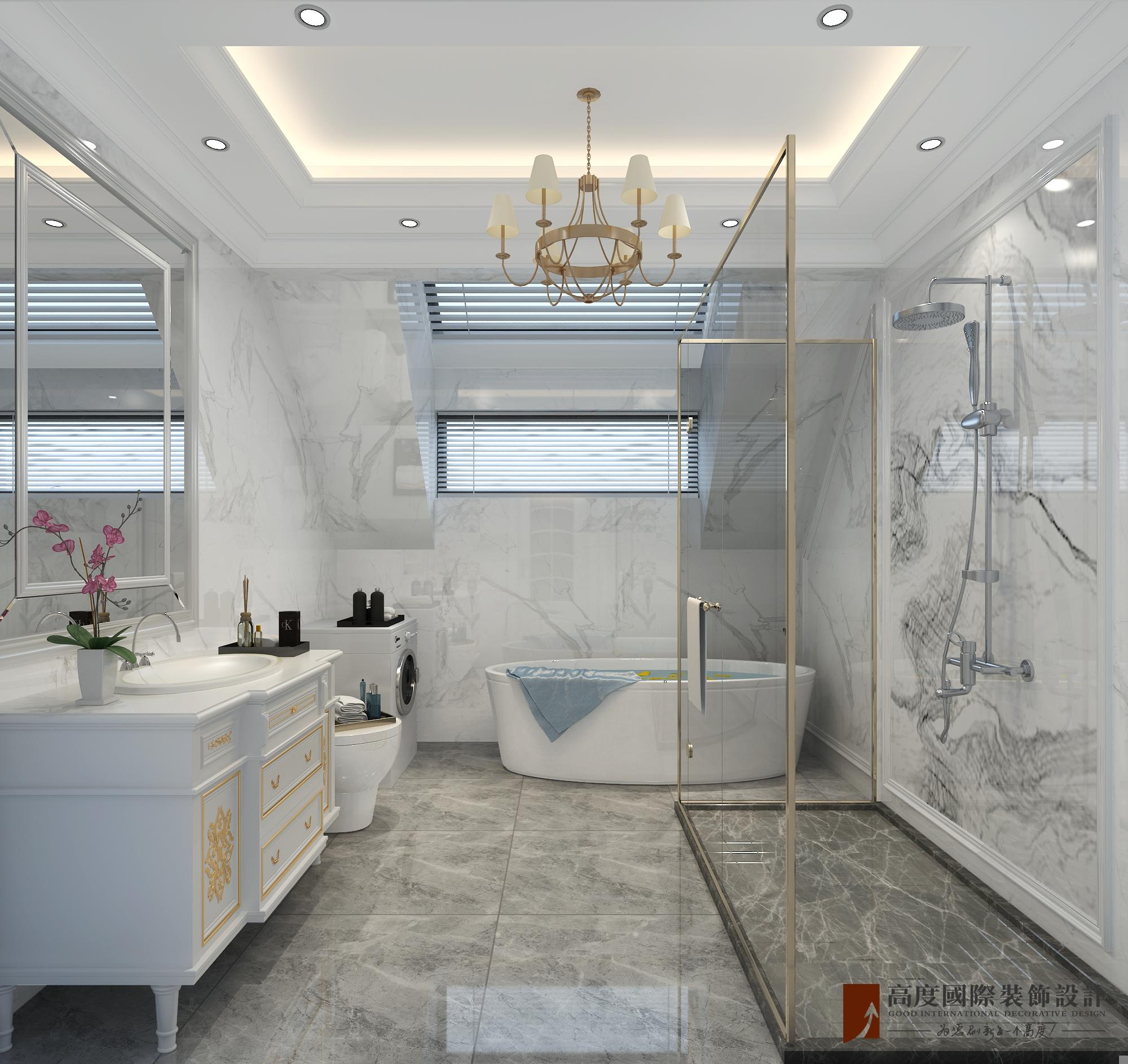 新古典 法式 别墅 跃层 复式 大户型 loft 80后 卫生间图片来自高度国际姚吉智在泷悦长安500平米简约法式精致的分享