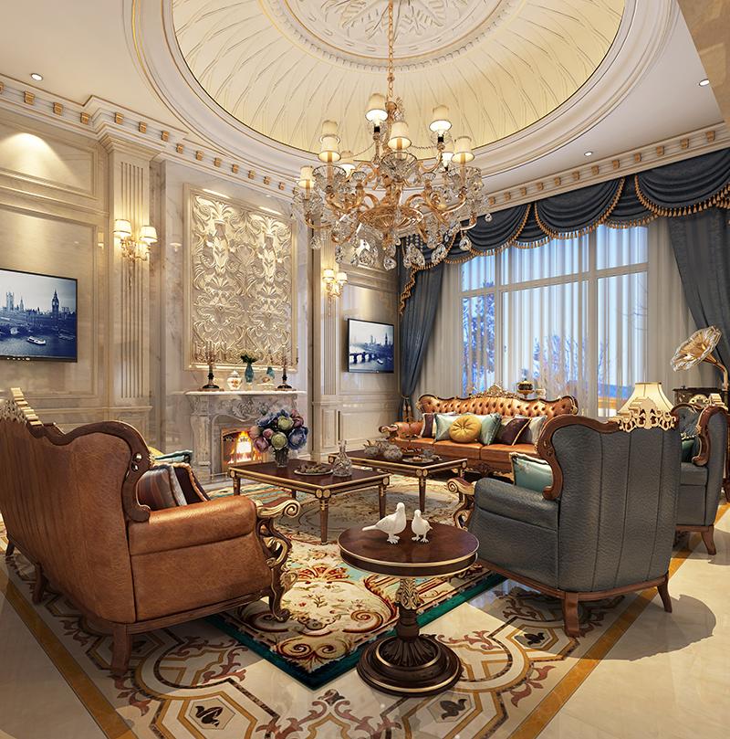 别墅装修 欧式古典 腾龙设计 客厅图片来自孔继民在浩润苑 别墅装修欧式古典风格的分享