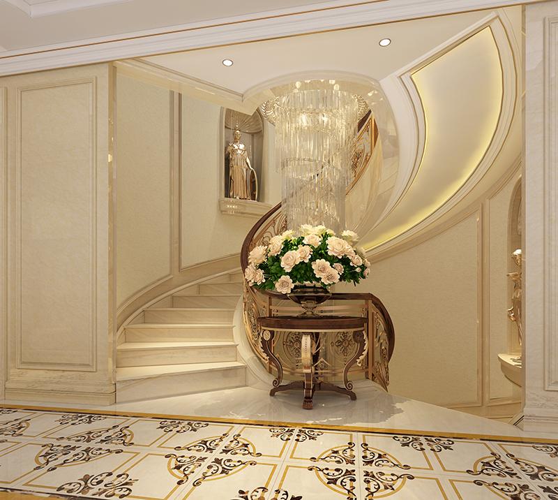 别墅装修 欧式古典 腾龙设计 楼梯图片来自孔继民在浩润苑 别墅装修欧式古典风格的分享