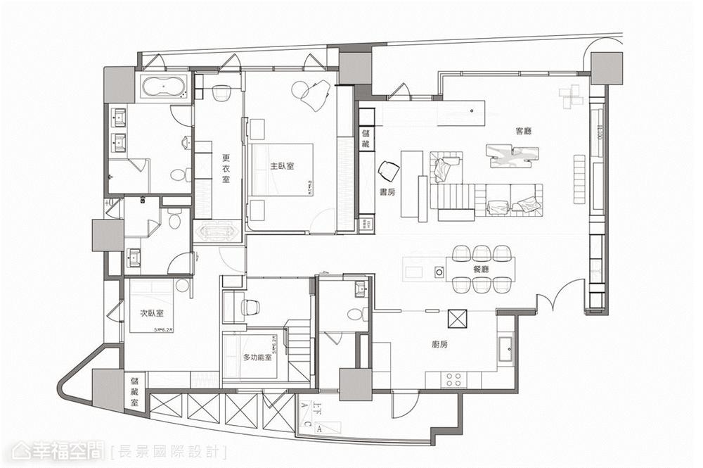简约 小资 80后 旧房改造 收纳 白领 休闲多元 户型图图片来自幸福空间在漫. 拾光|175平,隔楼上的卧室的分享