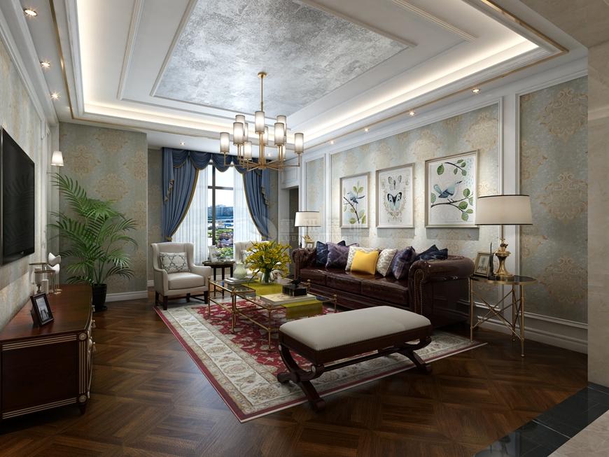 国金华府 鲁班装饰 美式装修 220平米装 客厅图片来自西安鲁班装饰装修在国金华府220平米美式装修的分享