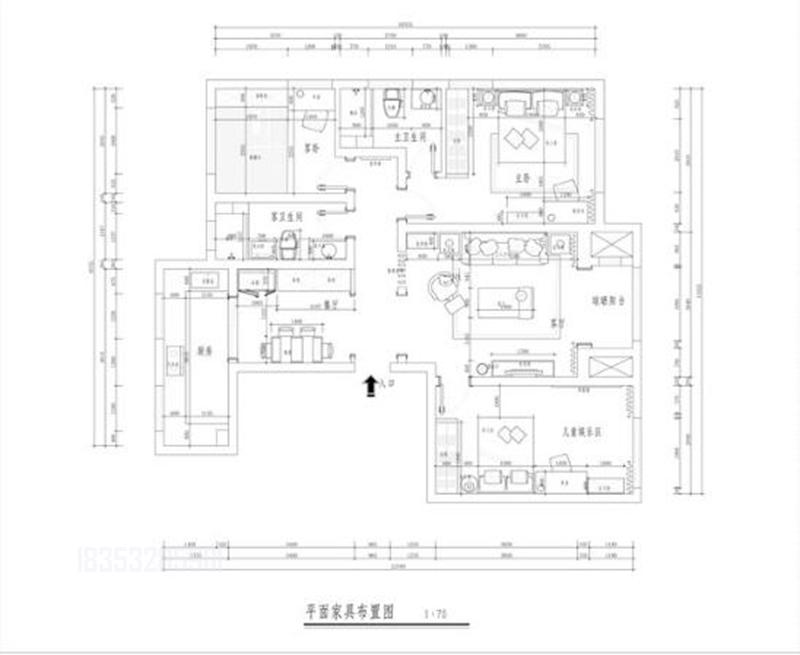 绿城玫瑰园 青岛装修 136平装修 户型图图片来自实创装饰集团青岛公司在绿城玫瑰园136平装修婚房的分享