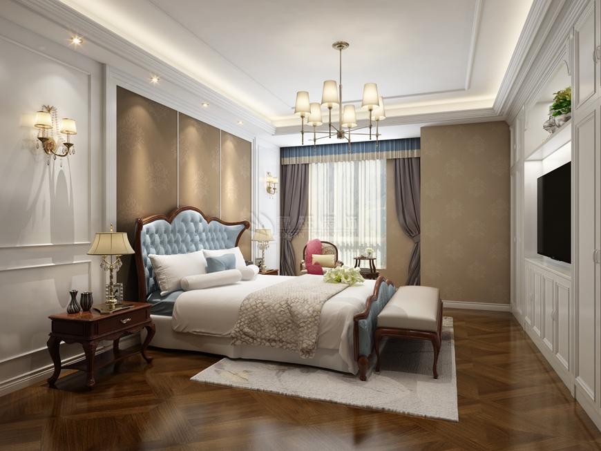 国金华府 鲁班装饰 美式装修 220平米装 卧室图片来自西安鲁班装饰装修在国金华府220平米美式装修的分享