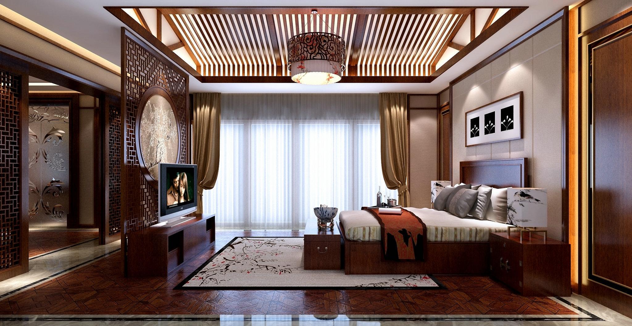 东园雅景轩 别墅装修 新中式风格 腾龙设计 卧室图片来自孔继民在东园雅集轩 800平别墅装修设计的分享
