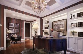 美式 复式 跃层 大户型 别墅 80后 小资 书房图片来自高度国际姚吉智在280平米美式轻奢格调复式楼的分享